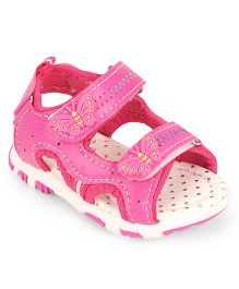 Cute Walk by Babyhug Open Toe Sandal Velcro Closure Butterfly Patch - Pink