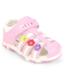 Cute Walk by Babyhug Closed Toe Sandal Velcro Closure Floral Patch - Pink