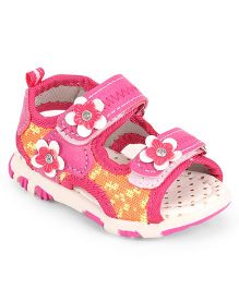 Cute Walk by Babyhug Open Toe Sandal Velcro Closure Floral Patch - Dark Pink