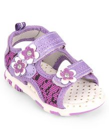 Cute Walk by Babyhug Open Toe Sandal Velcro Closure Floral Patch - Purple