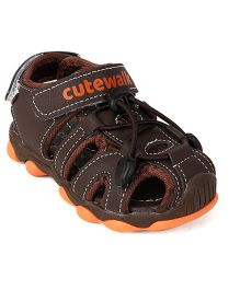 Cute Walk by Babyhug Sandals - Brown & Light Orange