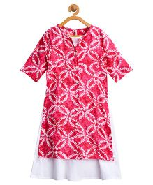 Campana Full Sleeves Kurti With Inner Floral Print - Pink White