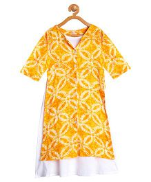 Campana Full Sleeves Kurti With Inner Floral Print -Yellow White