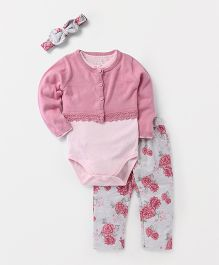 Fox Baby Full Sleeves Onesie With Leggings Shrug & Hair-Band - Pink