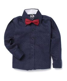 LOL Full Sleeves Printed Party Shirt With Bow - Navy