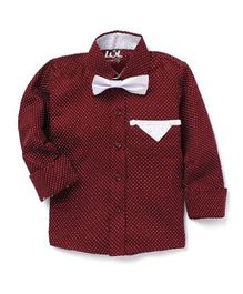 LOL Full Sleeves Printed Party Shirt With Bow - Maroon