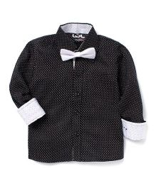 LOL Full Sleeves Printed Party Shirt With Bow - Black