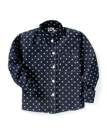 LOL Full Sleeves Printed Party Shirt - Navy Blue