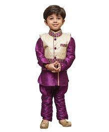 JBN Creation Banarasi Brocade Jacket Ethnic Shirt & Jodhpuri Pants - Purple & Beige
