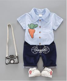 Funtoosh Kidswear Carrot Print Tee With Pant Set - Blue