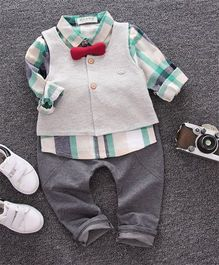 Funtoosh Kidswear Striped Shirt & Pant Set With Jacket - Grey