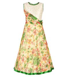 Aarika All Over Print Floral Gown - Green