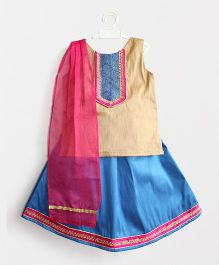 Many Frocks & Yoke Neck Kurta With Lehenga & Dupatta - Blue & Beige