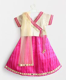 Many Frocks & Overlap Choli With Mirror Work Lehenga & Dupatta - Beige & Pink