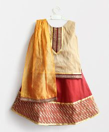 Many Frocks & Yoke Kurta With Contrast Glitter Lehenga & Dupatta - Brown & Beige