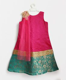 Many Frocks & Dupatta Attached A Line Work Gown - Dark Pink & Green