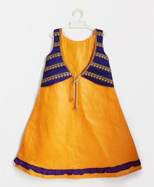 Many Frocks & Embroidered Koti Jacket Attached Gown - Mustard & Purple