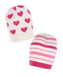 Mothercare Caps Stripes And Heart Print Pack of 2 - Pink White