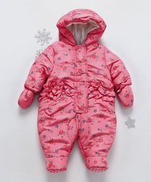 Mothercare Full Sleeves Footed Sleep Suit Floral Print - Pink