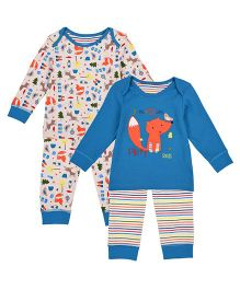 Mothercare Full Sleeves T-shirt & Lounge Pant Set Animal Print Pack of 2 - Blue Off White