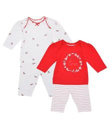 Mothercare Full Sleeves T-Shirt & Bottom Pack of 2 - Red & White