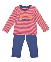 Mothercare Full Sleeves T-Shirt & Lounge Pant Set Adventure Awaits Print - Red Blue