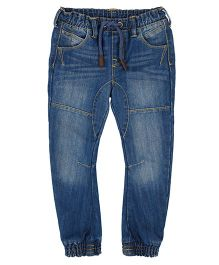 Mothercare Full Length Washed Jeans With Drawstring - Blue