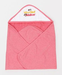 Pink Rabbit Hooded Towel Mischeif Maker Embroidery - Pink