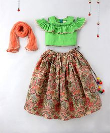 Hugsntugs Top & Printed Lehenga Set - Green