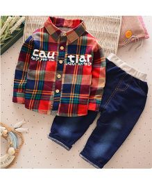 Pre Order - Tickles 4 U Checkered Shirt And Pant Set - Red & Blue