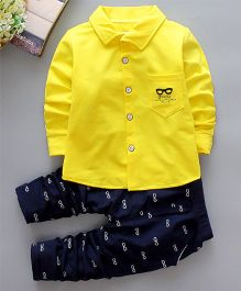 Pre Order - Tickles 4 U Specks Print Shirt And Pant Set - Yellow & Blue