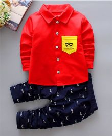 Pre Order - Tickles 4 U Specks Print Shirt And Pant Set - Red & Blue