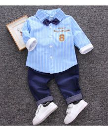 Pre Order - Tickles 4 U Striped Shirt And Pant Set - Blue