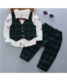 Pre Order - Tickles 4 U Smart Checks Print Shirt And Pants Set With Waist Coat - Green