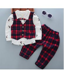 Pre Order - Tickles 4 U Smart Checks Print Shirt And Pants Set With Waist Coat - Red