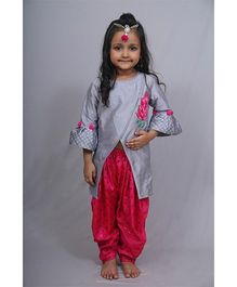 Varsha Showering Trends Lotus Embroidered Top With Bell Sleeves & Dhoti Pants - Grey & Pink