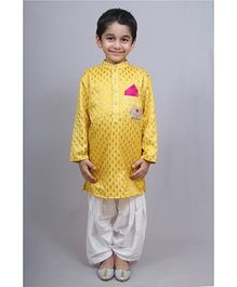 Varsha Showering Trends Zardosi Kurta & Dhoti - Yellow & White