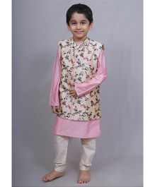 Varsha Showering Trends Floral Jacket With Kurta & Chudidar - Pink & Off White