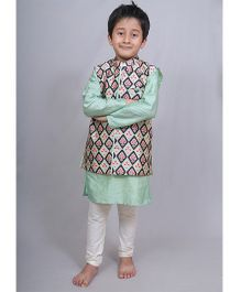 Varsha Showering Trends Abstract Print Jacket With Kurta & Chudidar - Green & Off White