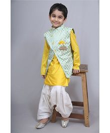 Varsha Showering Trends Brocade Jacket With Kurta & Patiala Salwar - Sea Green Yellow & White
