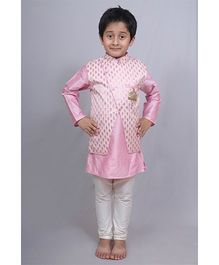 Varsha Showering Trends Brocade Jacket With Kurta & Chudidar - Pink & Off White