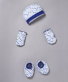 Babyhug Cap Mittens And Booties Set Heart Print - White Blue