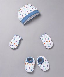 Babyhug Polks Dots Print Cap Mittens And Booties Set - White Blue