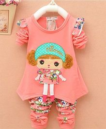 Pre Order - Dells World Doll Design Tee With Floral Printed Leggings - Peach