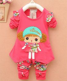 Pre Order - Dells World Doll Design Tee With Floral Printed Leggings - Pink