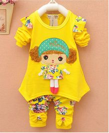 Pre Order - Dells World Doll Design Tee With Floral Printed Leggings - Yellow