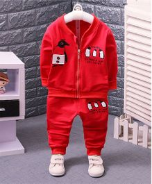 Pre Order - Dells World Penguin Print Zipper Jacket & Pant Set - Red