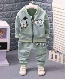 Pre Order - Dells World Penguin Print Zipper Jacket & Pant Set - Sea Green
