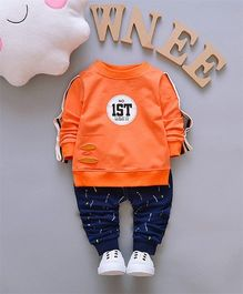 Pre Order - Dells World IST Print Tee With Pant - Orange & Blue