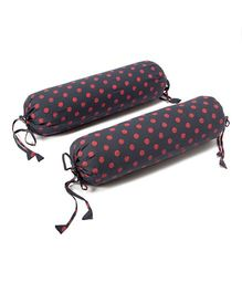 The Baby Atelier Organic Cotton Baby Bolster Dot Printed Cover Set Without Fillers - Grey & Salmon